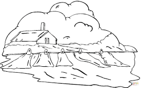 country house in the clouds coloring page free printable