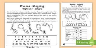 roman shopping activity sheet roman shopping worksheet