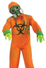 scary biohazard mutant zombie kids hazmat suit halloween costume