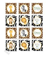 safari jungle animals cupcake toppers baby shower stickers labels