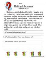 making inferences worksheet special night read the story then