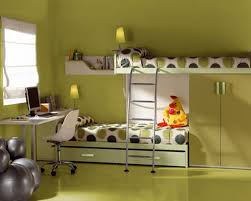 modern kids room decoration have two level of the beds in front
