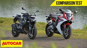 cbr models in india honda cbr 650f vs kawasaki z800 comparison test autocar india