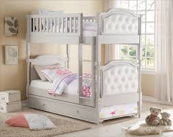 gray peral white pu twin twin trundle bunk bed