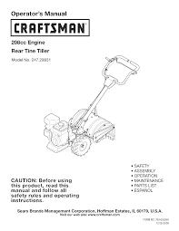 craftsman tiller 247 29931 user guide manualsonline com