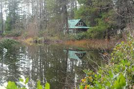 file tiny house reflected on bear lake in kitsap county
