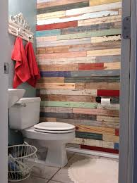 diy bathroom renovation wood wall salvaged fence and pallet wood