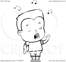 cartoon clipart of a black and white little boy singing vector