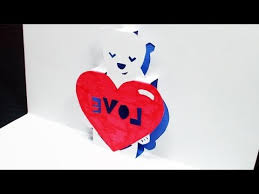how to make a heart bear love pop up card free template