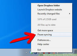 dropbox windows how to pause and resume syncing on dropbox 6 steps