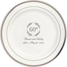 60th anniversary plates 7 inch silver trim plastic dessert plates my wedding reception ideas