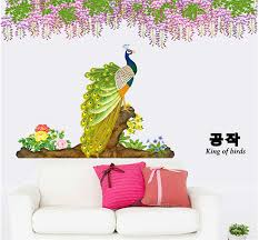 sale xl chinese wall sticker peacock flower butterfly home decor