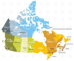 map of provinces and territories of canada vector image 6348