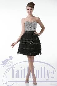 black cocktail dress short sweetheart ruched sequins bodice ribbon