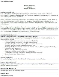 Sample Resume For Early Childhood Assistant by Teaching Assistant Cv Example Icover Org Uk