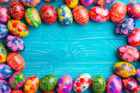 blue easter eggs blue wooden surface with easter eggs frame photo free