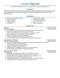 Technician Resume Examples by Resume Examples Templates Entry Level Mechanic Resume Sample