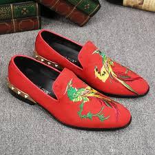 retro design animal pattern 2017 men fashion shoes pointed slip on