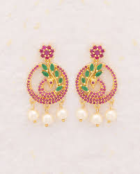peacock earrings buy swarnam beautiful peacock earrings online india voylla
