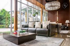 lobby furniture modern hotel on round carpet and living room sofa