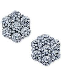 stud diamond earrings diamond flower stud earrings 1 ct t w in 14k white gold