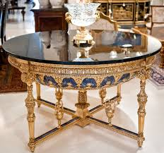 Empire Style Interior Decor Glamour Empire Style Round Foyer Table With Gold And Blue