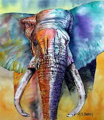 elephant painting alpha by maria barry