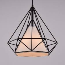 Black Pendant Light Industrial Pendant Light Black Cage U0026 White Fabric Shade Ethna