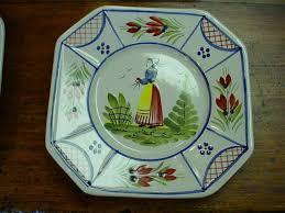 set 6 small quimper hb henriot plates for sale antiques