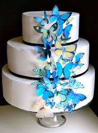 edible wedding cake decorations wedding cake topper blue and green edible butterflies edible