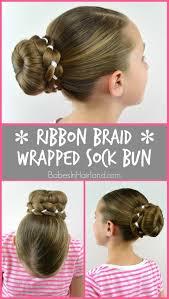 sock bun hair ribbon braid wrapped sock bun in hairland