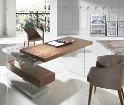 modern glass work desk contemporary study desk modern glass and walnut work desk