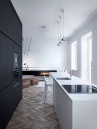 apartments black box room design and white kitchen island for