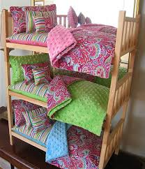 American Made Bunk Beds Stackable Doll Bunkbed 15pc Paisley Bedding American Made