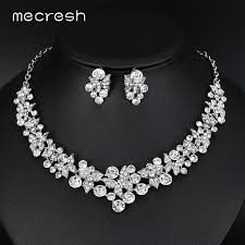 bridal necklace sets silver images Mecresh hot sale crystal butterfly bridal jewelry sets silver jpg