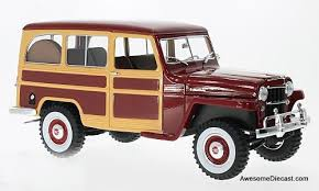 jeep station wagon 2018 bos models 1 18 1954 jeep willys pick up red bos267