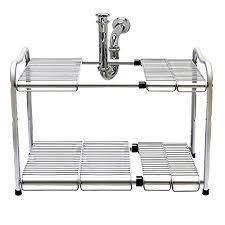 under sink storage tidy amazon co uk kitchen home 2 tier stainless steel under sink adjustable expandable kitchen