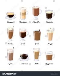 espresso drinks different coffee drinks isolated on white stock vector 417288658