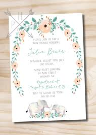 elephant baby shower invitations watercolor floral wreath elephant baby shower invitation