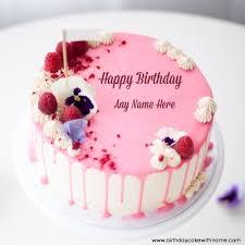 write lover name on raspberry pink design birthday cake
