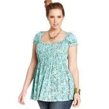 baby doll blouses lyst rag plus size shortsleeve printed babydoll top in blue