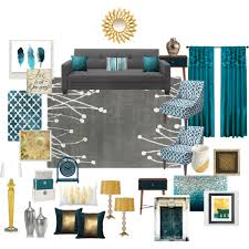 teal grey gold living room by ealfaro814 on polyvore featuring