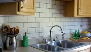 faux kitchen backsplash painted subway tile backsplash remodelaholic