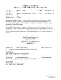 Medical Assistant Job Description For Resume by Resume Example Of Objectives On A Resume Pensacola Therapist