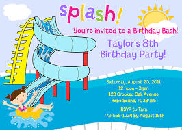 pool party invitations waterslide pool party birthday invitations swimming pool party