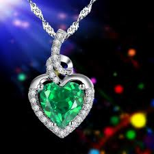 emerald heart necklace images Mabellajewelry rakuten mabella sterling silver simulated jpg