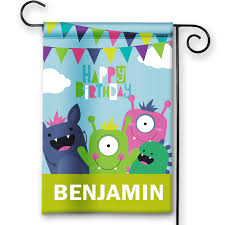 Decorative Garden Flags Monster Party Happy Birthday Personalized Party Banner Garden Flag