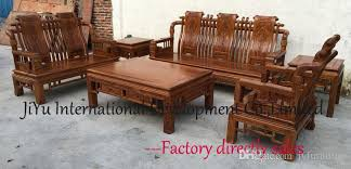 Cheap Living Room Table Sets Han Dynasty King Sofa Sets 123 Six Pieces Wood Furniture Living