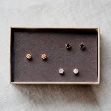 small gold stud earrings trio tiny gold stud earrings by elephantine