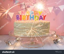 birthday cake sparklers happy birthday cake sparklers greeting card stock photo 577636621